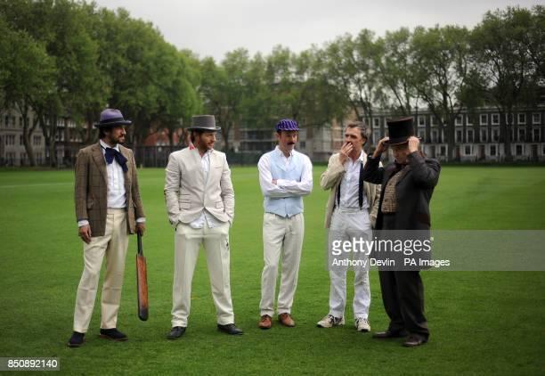 Charlie Campbell Nicholas Hogg Alex Preston William Fiennes and Jeffrey Archer are seen dressed in Victorian costume during the Wisden Victorian...