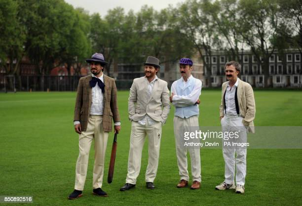 Charlie Campbell Nicholas Hogg Alex Preston and William Fiennes are seen dressed in Victorian costume during the Wisden Victorian Cricket Match at...