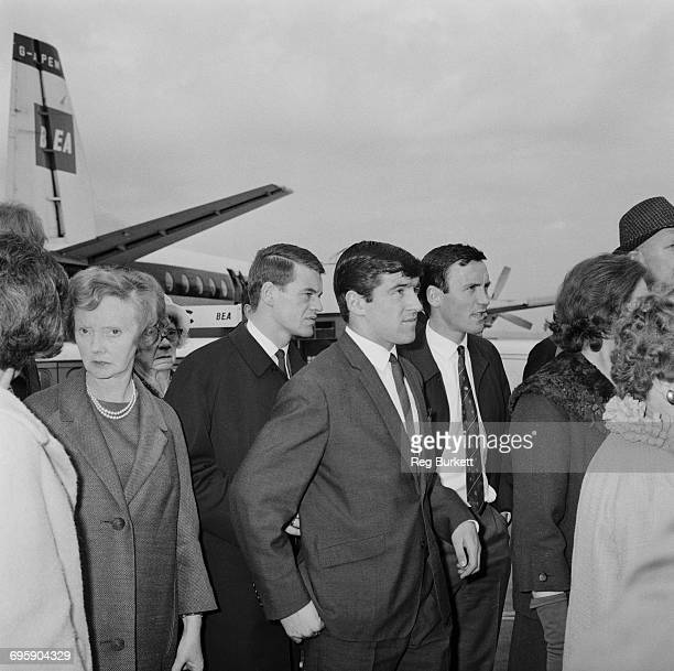 From left to right Chelsea footballers Eddie McCreadie Terry Venables and George Graham leave London Airport for Burnley 25th April 1965 They have...