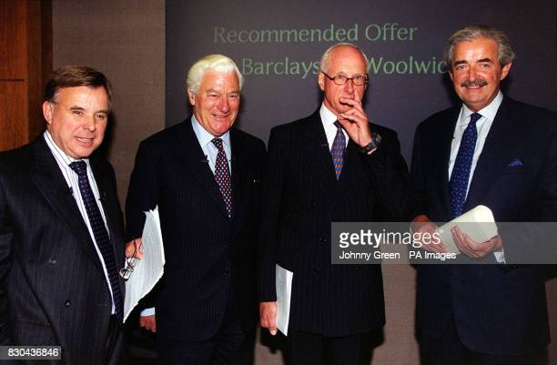 From left to right Chief Executive of Woolwich John Stewart Chairman of Woolwich Sir Brian Jenkins Chairman of Barclays Sir Peter Middleton and Chief...