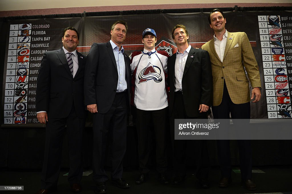 From left to right, Colorado Avalanche director of scouting Richard Pracey, head coach Patrick Roy, rookie Nathan MacKinnon, director of hockey operations Joe Sakic and team president Josh Kronke pose for a portrait during a press conference to welcome the number one overall pick in the 2013 NHL draft. MacKinnon, a native of Nova Scotia, addressed the media at the Pepsi Center.