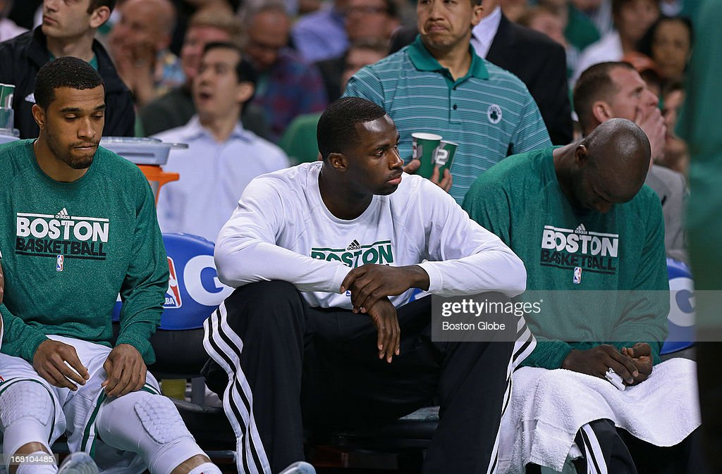 Courtney Lee, Brandon Bass and Kevin Garnett on the bench. The Boston Celtics hosted the New York Knicks for Game Six of the NBA Eastern Conference Quarterfinals at the TD Garden.