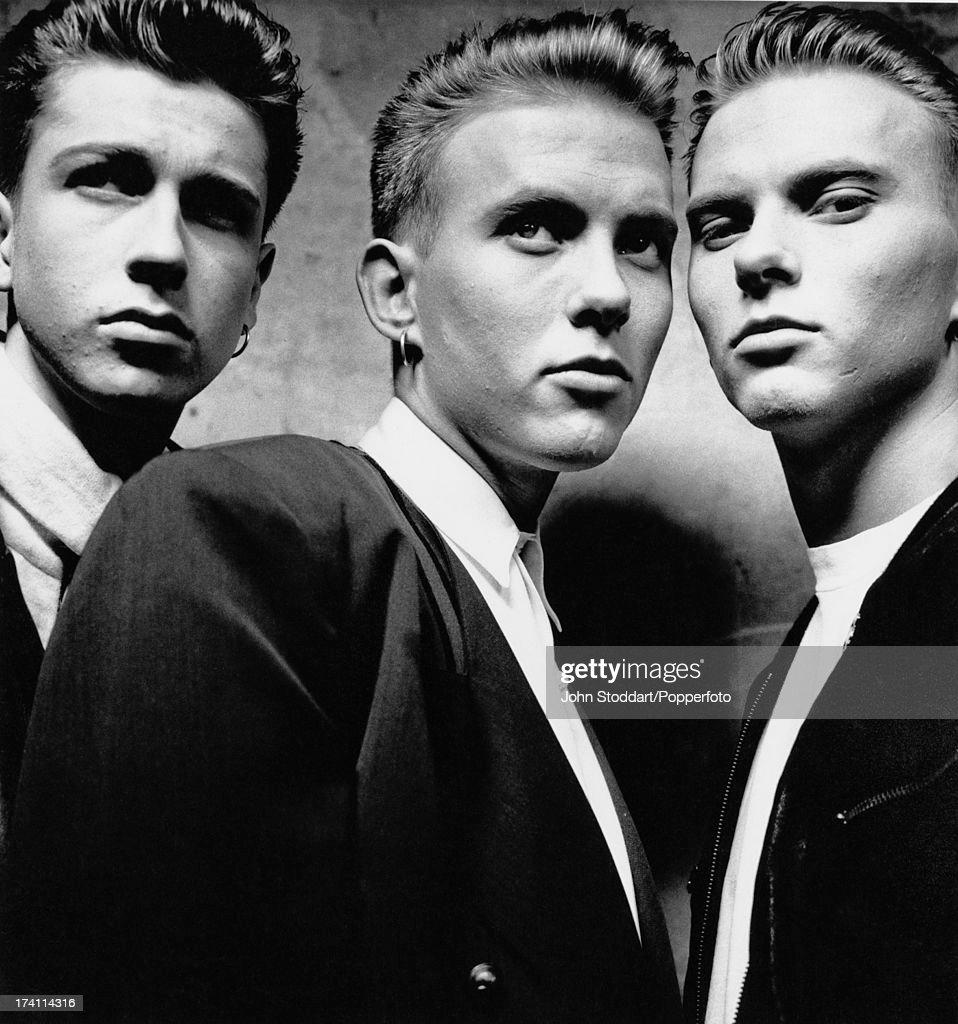 From left to right, Craig Logan, Matt Goss and Luke Goss of British pop band Bros, circa 1988.
