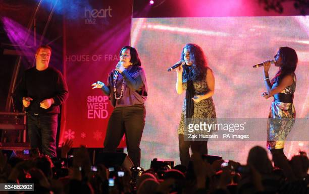 Daniel Evans Rachel Hylton Ruth Lorenzo and Alexandra Burke from The X Factor perform before the Sugababes switch on Oxford Street's Christmas Lights...