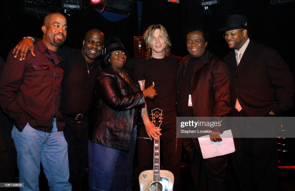From left to right Darius Rucker Bebe Winans Angie Stone Johnny Rzeznik Lamont Dozier and Jimmy Jam