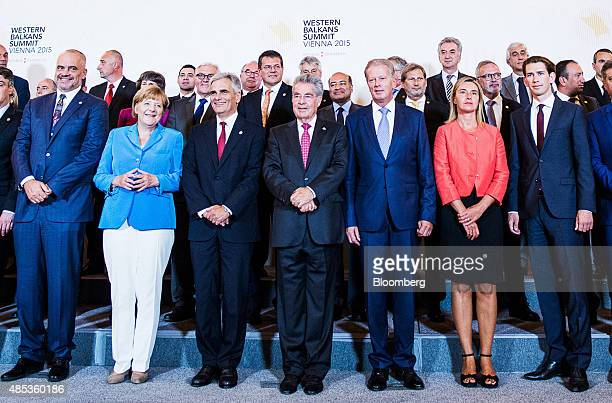 From left to right Edi Rama Albania's prime minister Angela Merkel Germany's chancellor Werner Faymann Austria's chancellor Heinz Fischer Austria's...