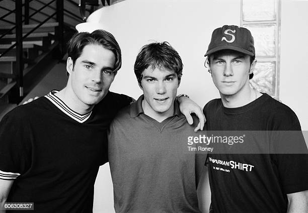 From left to right English footballers Jamie Redknapp Jason McAteer and Steve McManaman of Liverpool FC UK 18th April 1996