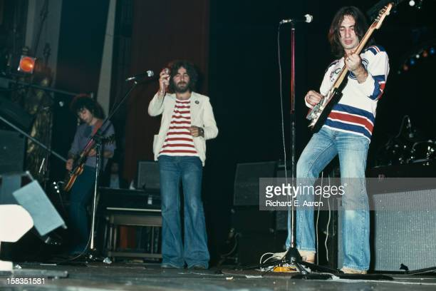 From left to right English musicians Graham Gouldman Kevin Godley and Lol Creme of rock band 10cc in concert in New York October 1975