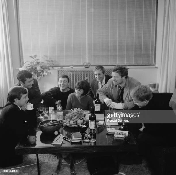 From left to right entrepreneur Alexander Plunkett Greene photographer Terence Donovan hairdresser Vidal Sassoon fashion designer Mary Quant film...
