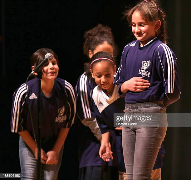 From left to right Esmeralda Amaga 4th grade Jazzira Vicente 3rd grade Jazmyn Rodriguez 4th grade and Edwely Baez 5th grade of the Charles Sumner...