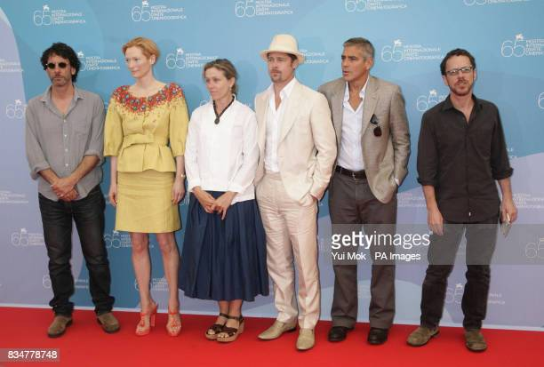 Ethan Coen Tilda Swinton Frances McDormand Brad Pitt George Clooney and Joel Coen attend the photocall for Burn After Reading at the 65th Venice Film...
