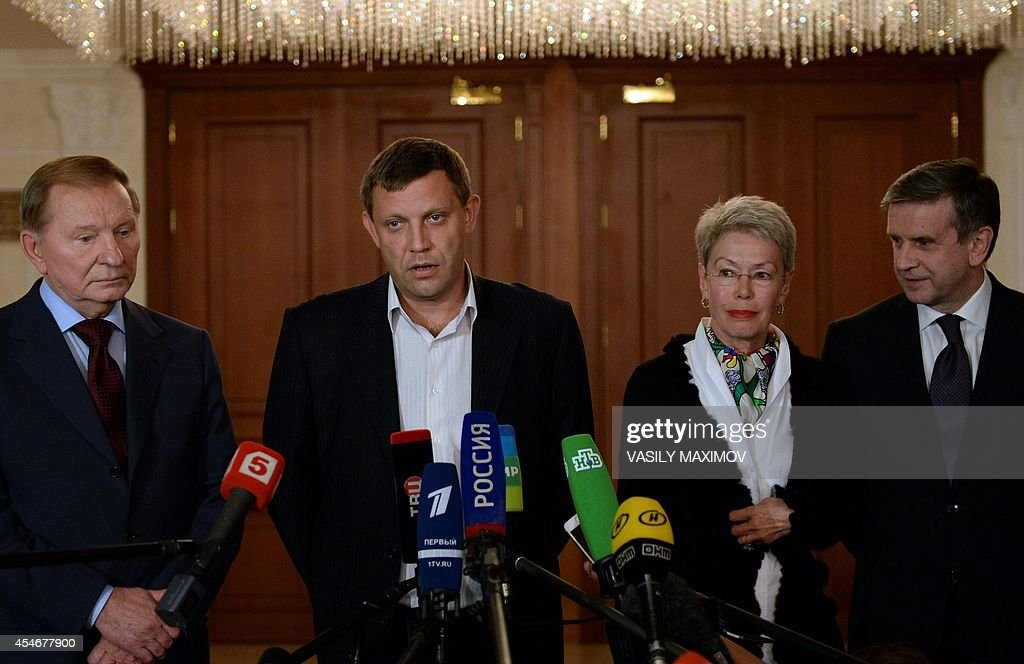 Former Ukrainian president Leonid Kuchma representative of self proclaimed 'People Republic of Donetsk' Prime Minister Alexander Zakharchenko...