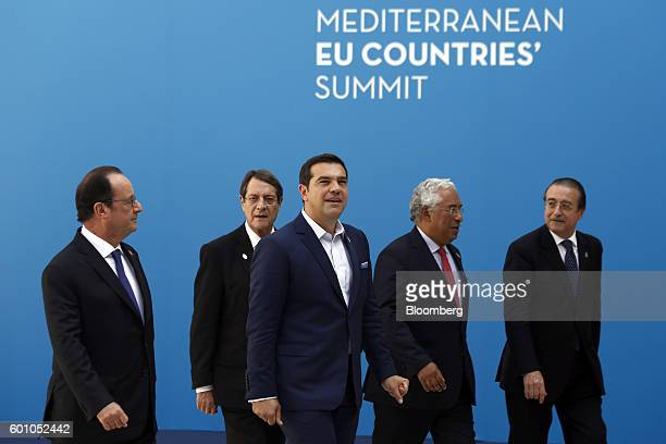 Francois Hollande France's president Nicos Anastasiades Cyprus's president Alexis Tsipras Greece's prime minister Antonio Costa Portugal's prime...