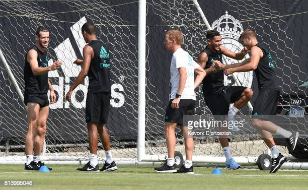 From left to right Gareth Bale Varane Theo Hernandez and Alvaro Morata of Real Madrid during training for Tour 2017 on the campus of UCLA July 13 in...