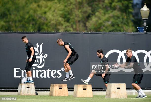 From left to right goalkeeper Ruben Yanez Alavro Morata Isco and Toni Kroos of Real Madrid during training for Tour 2017 on the campus of UCLA July...
