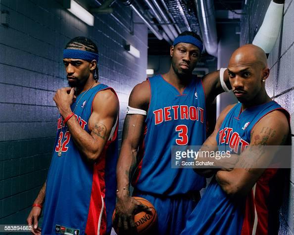 Guard Richard Hamilton center Ben Wallace and point guard Chauncey Billups of the Detroit Pistons