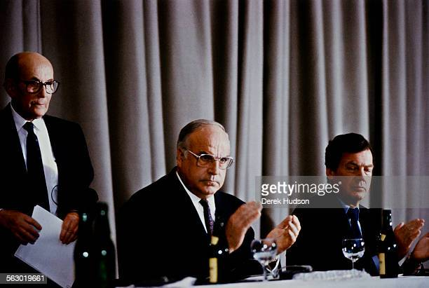 From left to right Heinz Galinski president of the Central Council of Jews in Germany German Chancellor Helmut Kohl and CanadianAmerican...
