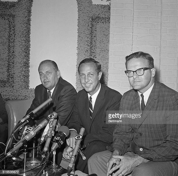 From left to right here is Tex Schramm President of the National Football League of the Dallas Cowboys NFL Commissioner Pete Rozelle and Lamar Hunt...
