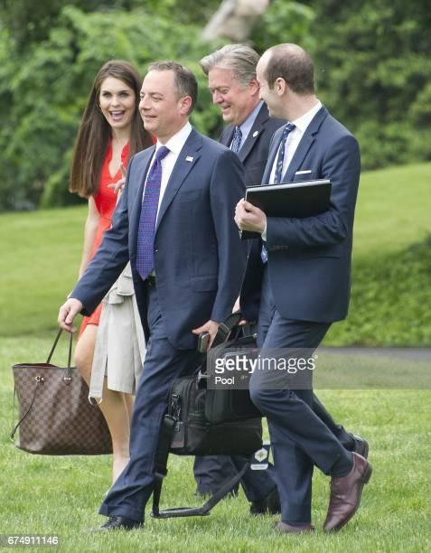 From left to right Hope Hicks White House Director of Strategic Communications Steve Bannon Chief Strategist White House Chief of Staff Reince...