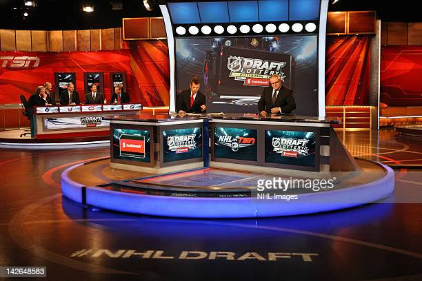 From left to right in background Toronto Maple Leafs General Manager Brian Burke New York Islanders Director of Pro Scouting Ken Morrow Montreal...