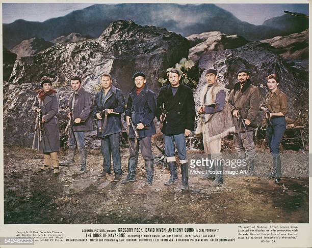 From left to right Irene Papas James Darren Anthony Quayle David Niven Gregory Peck Anthony Quinn Stanley Baker and Gia Scala in a publicity still...