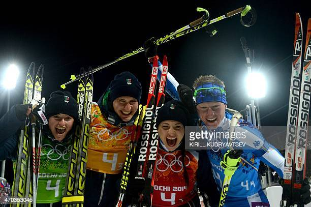 Italy's Karin Oberhofer Italy's Dominik Windisch Italy's Dorothea Wierer and Italy's Lukas Hofer celebrate winning bronze in the Biathlon mixed 2x6...
