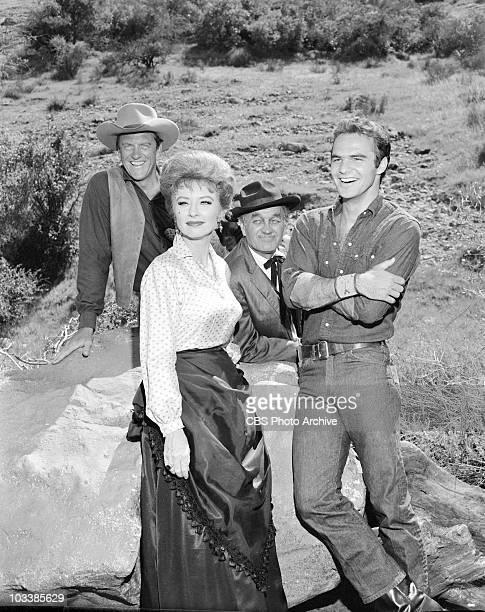 GUNSMOKE from left to right James Arness Amanda Blake Milburn Stone Burt Reynolds in episode 'No Hands' Image dated May 6 1963