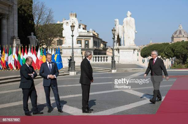 Joseph Muscat Malta's prime minister and Donald Tusk president of the European Union look on as Paolo Gentiloni Italy's prime minister waits to greet...