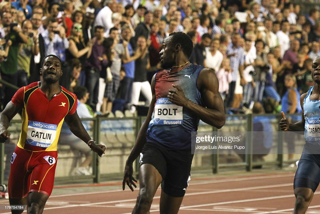 From left to right Justin Gatlin (USA) and Usain Bolt (JAM) runs during the Men's 100m final at the 2013 Belgacom Memorial Van Damme -IAAF Diamond League on September 6, 2013 in Brussels, Belgium.