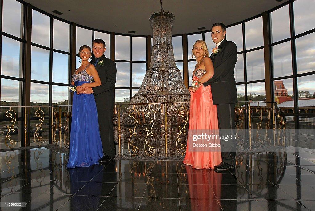 Kara Venuto, 17, with date Evan Morris, 16; and Deedee Deegan, 17, with date Ken Blasser 15; posed in front of Lombardo's chandelier while attending Pembroke High School's Junior Prom.