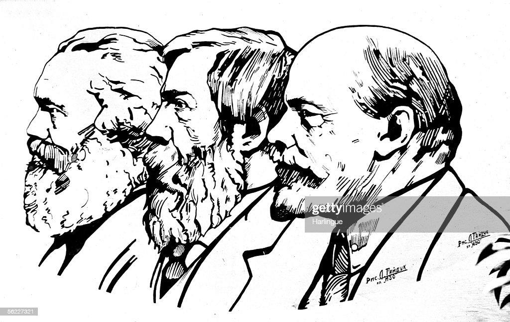 Karl Marx (1818-1883), Friedrich Engels (1820-1895) and Lenin (1870-1924).