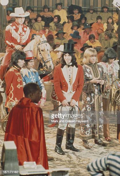 Keith Richards Charlie Watts Mick Jagger Brian Jones and Bill Wyman from The Rolling Stones pose on the set of the Rolling Stones Rock and Roll...