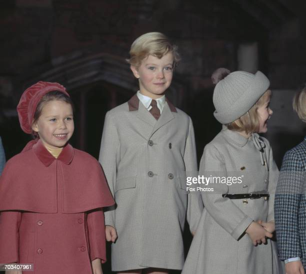 From left to right Lady Sarah ArmstrongJones George Windsor the Earl of St Andrews and Lady Helen Windsor during Christmas at Windsor Castle England...