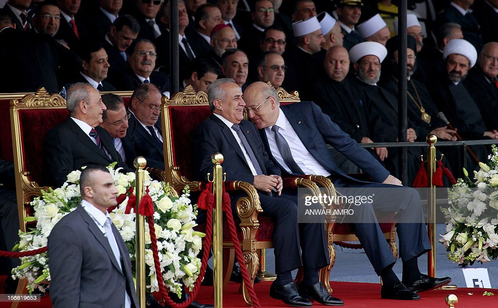 Lebanese Parliament Speaker Nabih Berri, Former prime minister Fuad Siniora, President Michel Sleiman and current Prime Minister Najib Mikati attend a military parade marking Lebanon's 69th Independence Day in central Beirut on November 22, 2012. Lebanese Independence day, is a national day celebrated in remembrance of the liberation from the French Mandate on November 22, 1943, which was exercised over Lebanon for over two decades.