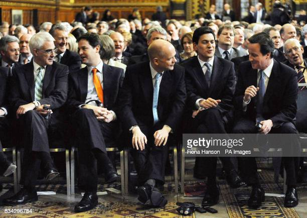 Liberal Democrat leader Nick Clegg Shadow Foreign Secretary William Hague Foreign Secretary David Miliband and Tory Leader David Cameron in the Royal...