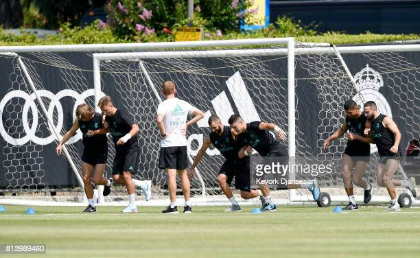 From left to right Luca Modric Manu Hernando Karim Benzema Ruben Yanez Casemiro and Carvajal of Real Madrid during training for Tour 2017 on the...