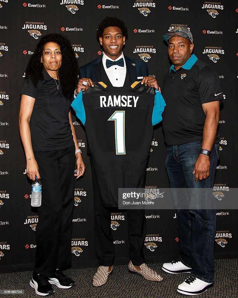 From left to right, Margie Ramsey, mother, Cornerback <a gi-track='captionPersonalityLinkClicked' href=/galleries/search?phrase=Jalen+Ramsey&family=editorial&specificpeople=11328626 ng-click='$event.stopPropagation()'>Jalen Ramsey</a> of the Jacksonville Jaguars, and Lamont Ramsey, father, pose for a photo after a press conference at EverBank Field on April 29, 2016 in Jacksonville, Florida. The Jaguars selected Ramsey fifth overall out of Florida State University in the 2016 NFL Draft.