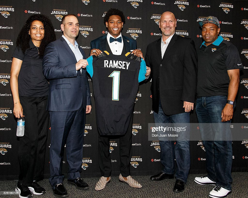 From left to right, Margie Ramsey, mother, General Manager Dave Caldwell, Cornerback <a gi-track='captionPersonalityLinkClicked' href=/galleries/search?phrase=Jalen+Ramsey&family=editorial&specificpeople=11328626 ng-click='$event.stopPropagation()'>Jalen Ramsey</a>, Head Coach <a gi-track='captionPersonalityLinkClicked' href=/galleries/search?phrase=Gus+Bradley&family=editorial&specificpeople=5443487 ng-click='$event.stopPropagation()'>Gus Bradley</a> and Lamont Ramsey, father, of the Jacksonville Jaguars pose for a photo after a press conference at EverBank Field on April 29, 2016 in Jacksonville, Florida. The Jaguars selected Ramsey fifth overall out of Florida State University in the 2016 NFL Draft.