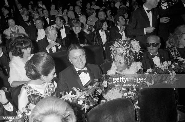 Maria Callas Greek Opera singer the british actor Richard Burton and the american actress Liz Taylor at the reception for the 75th birthday of the...