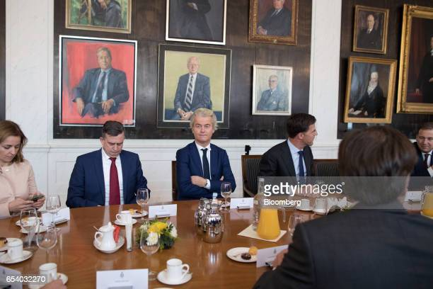 From left to right Marianne Thieme leader of the Party for the Animals Emile Roemer leader of the Socialist Party Geert Wilders leader of the Dutch...