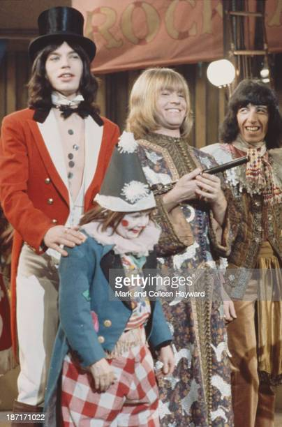 Mick Jagger Brian Jones and Bill Wyman from The Rolling Stones pose on the set of the Rolling Stones Rock and Roll Circus at Intertel TV Studio in...