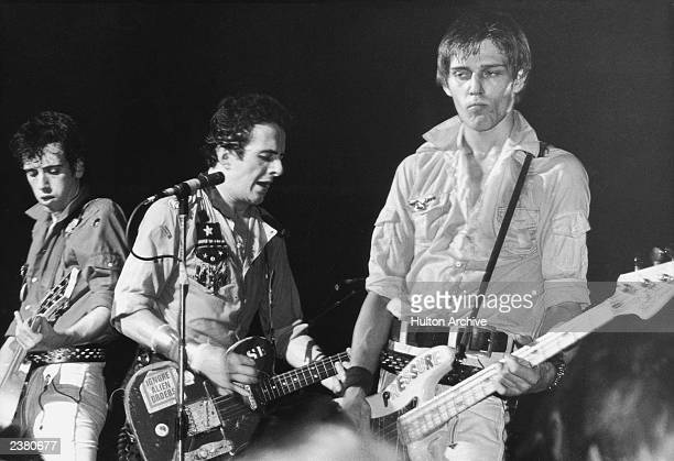 From left to right Mick Jones Joe Strummer and Paul Simonon of punk rock band The Clash circa 1980