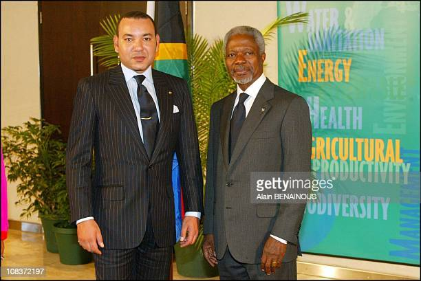 From left to right Mohamed VI of Morocco and Kofi Annan in Johannesburg South Africa on September 02 2002