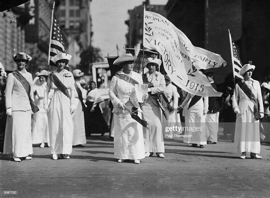 From left to right, Mrs James Leeds Laidlaw, Mrs Albert Plimpton, Mrs A Hughston, Mrs Frank Stratton and Helen Rich lead the Manhattan Delegation on a Woman Suffrage Party parade through New York.