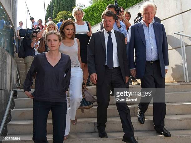 from left to right Nathalie Kosciusko Morizet Nora Berra Nadine Morano Christian Estrosi and Brice Hortefeux arrive at the meeting on August 24 2012...