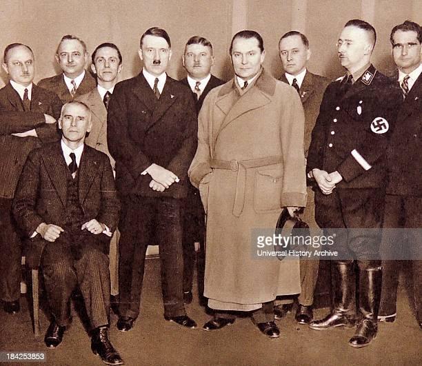 Nazi leaders photographed in 1933 Justice Minister Kerri Josef Goebbels Adolf Hitler Ernst Roehm Herman Goring Minister Darre Heinrich Himmler head...