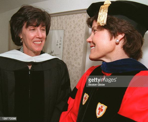 From left to right Nora Ephron commencement speaker and Diana Chapman Walsh college president