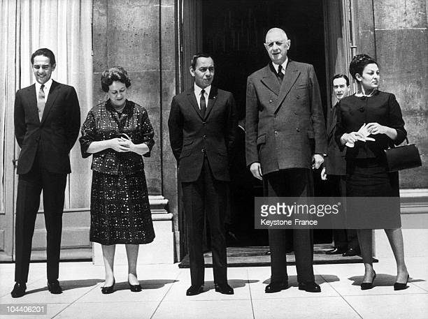 From left to right on the frontstep of the Elysee Palace prince Mulay ABDALLAH King HASSAN of Morocco's younger brother King HASSAN II General DE...