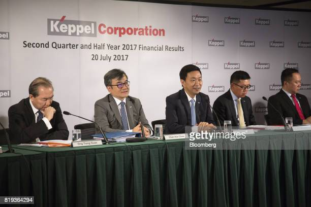 From left to right Ong Tiong Guan chief executive officer of Keppel Infrastructure Holdings Pte Ltd Chan Hon Chew chief financial officer of Keppel...