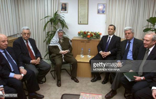 From left to right Palestinian Parliament Speaker Abu Ala'a Qorei PLO secondincommand Mahmud Abbas also known as Abu Mazen Palestinian Authority...